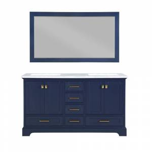 Stufurhome Brittany 60 in. W x 22 in. D Vanity in Dark Blue with Marble Vanity Top in Carrara White with White Basin and Mirror