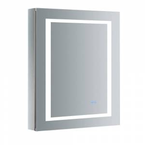 Fresca Spazio 24 in. W x 30 in. H Recessed or Surface Mount Medicine Cabinet with LED Lighting, Mirror Defogger and Left Hinge, Silver