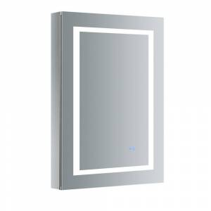 Fresca Spazio 24 in. W x 36 in. H Recessed or Surface Mount Medicine Cabinet with LED Lighting, Mirror Defogger and Left Hinge, Silver