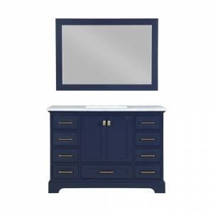 Stufurhome Brittany 48 in. W x 22 in. D Vanity in Dark Blue with Marble Vanity Top in Carrara White with White Basin and Mirror