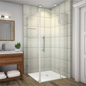 Aston Avalux GS 36 in. x 72 in. Frameless Shower Enclosure in Stainless Steel with Glass Shelves