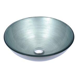 ANZZI Gardena Deco-Glass Vessel Sink in Brushed Silver