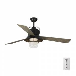 Monte Carlo Boynton 54 in. LED Indoor/Outdoor Antique Bronze Ceiling Fan with Light Grey Weathered Oak Blades, Light Kit and Remote