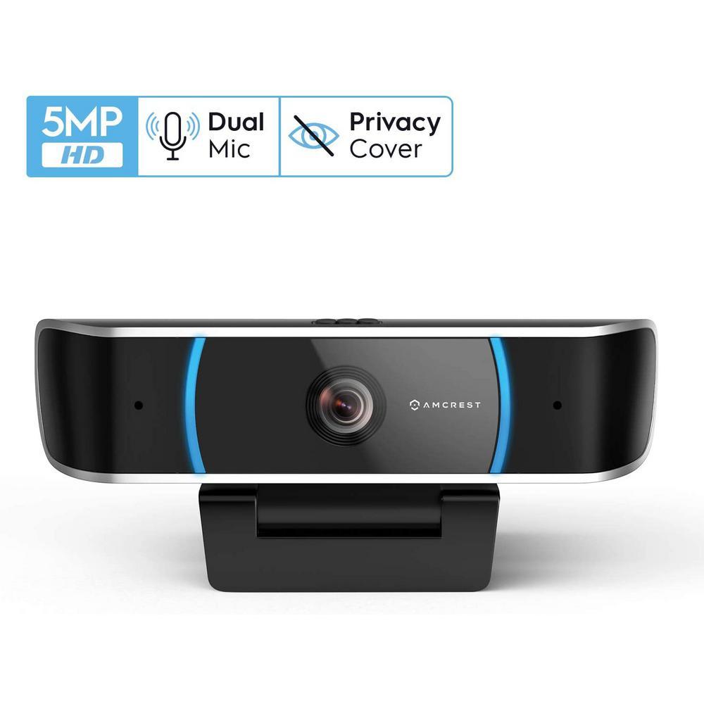 AMCREST:Amcrest 5MP Wired Webcam USB Camera with Mic, HD Streaming for PC Desktop & Laptop, Wide Angle Lens & Large Sensor Low Light, Black