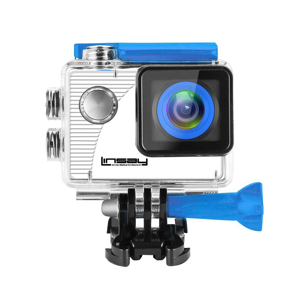 LINSAY Funny Kids Blue Action Camera Sport Outdoor Activities HD Video and Photos Micro SD Card Slot up to 32GB