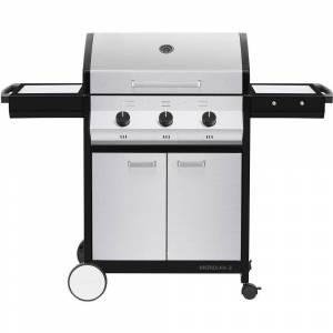 Cadac Meridian 3-Burner Propane Gas BBQ Grill in Stainless Steel with 2-Door Cart and Side Tables, Silver