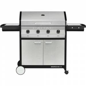 Cadac Meridian 4-Burner Propane Gas BBQ Grill in Stainless Steel with 2-Door Cart and Side Tables, Silver