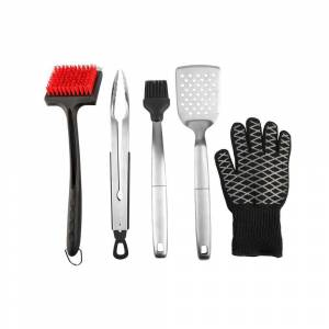 EVERYONE DESIGNS LLC Cook and Clean BBQ Grill Essentials 5-Piece Value Set with Tongs, Spatula, Basting Brush, Cleaning Brush and Heat Gloves