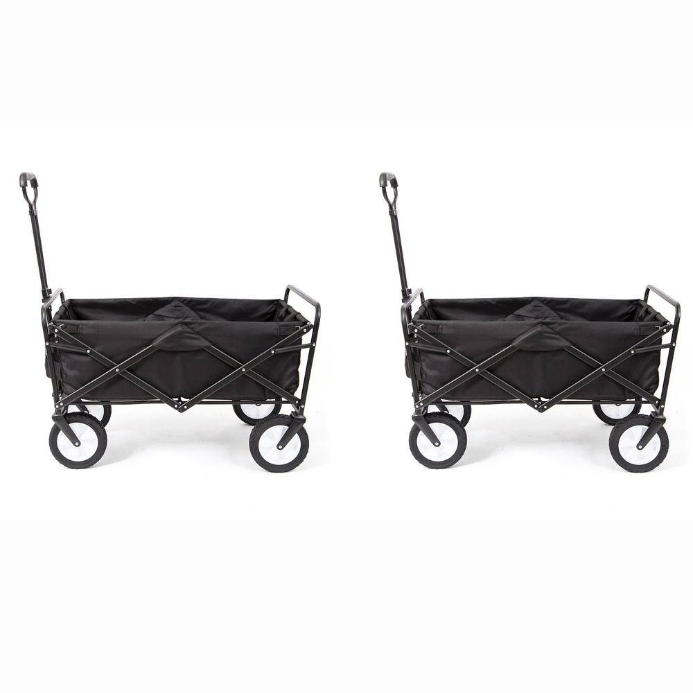 Mac Sports Folding Outdoor Garden Utility Wagon Cart and Table, Black (2-Pack)