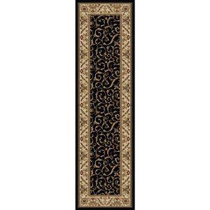RADICI USA Como Black 2 ft. x 8 ft. Traditional Floral Scroll Area Rug