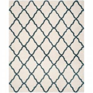 SAFAVIEH Hudson Shag Ivory/Slate Blue 8 ft. x 10 ft. Trellis Area Rug