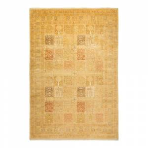 Solo Rugs Mogul One of a Kind Traditional Ivory 9 ft. 2 in. x 13 ft. 5 in. Floral Area Rug, Brown