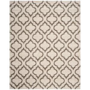 SAFAVIEH Hudson Shag Ivory/Gray 6 ft. x 9 ft. Geometric Multi-Trellis Area Rug