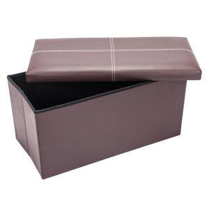 Winado Folding Brown Storage Ottoman Bench