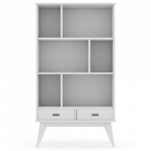 Simpli Home Draper Solid Hardwood 64 in. x 35 in. Mid-Century Modern Wide Bookcase and Storage Unit in White