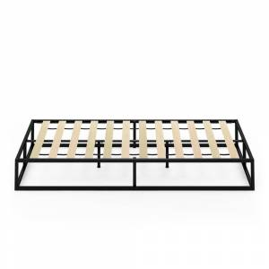 Furinno Monaco Twin Metal Bed Frame Foundation with Wooden Slats, Black