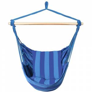 Costway 47 in. Portable Hammock Rope Chair Outdoor Hanging Air Swing in Blue