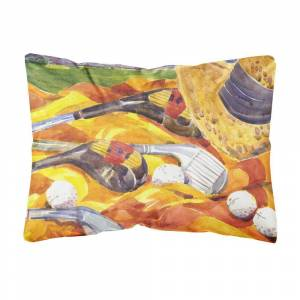 Caroline's Treasures 12 in. x 16 in. Multi-Color Lumbar Outdoor Throw Pillow with Golf Clubs Golfer Decorative Canvas Fabric Pillow, Multicolor
