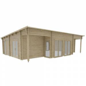Hud-1 EZ Buildings Nordic J68 692 sq. ft. Log Cabin Pool Garden House D.I.Y. Building Kit, Beige / Cream