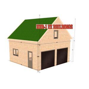 Hud-1 EZ Buildings Log Garage J2 688 sq. ft. Log Garage DIY Building Kit, Beige / Cream