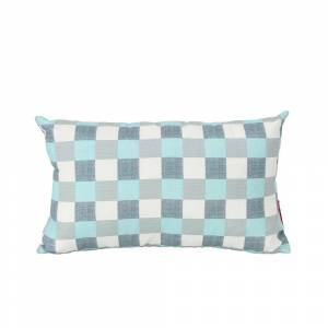Noble House Pendry Blue and White Plaid Rectangle Outdoor Throw Pillow