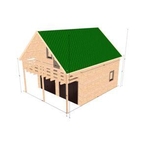 Hud-1 EZ Buildings Balcony Garage D.I.Y. 2 Story Log Garage Building Kit, Beige / Cream