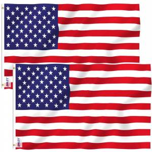 ANLEY Fly Breeze 4 ft. x 6 ft. Polyester American US Flag 2-Sided Flag Banner with Brass Grommets (2-Pack)