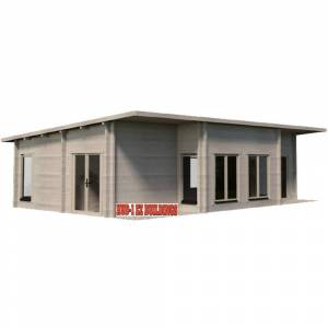 Hud-1 EZ Buildings Norse 20 ft. x 32 ft. Log Cabin Pool Garden House D.I.Y. Building Kit, Beige / Cream