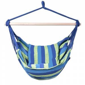Costway 47 in. Portable Hammock Rope Chair Outdoor Hanging Air Swing in Blue and Green