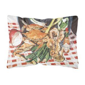 Caroline's Treasures 12 in. x 16 in. Multi Color Lumbar Outdoor Throw Pillow Crab Boil Decorative Canvas Fabric Pillow, Multicolor