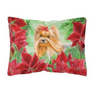 Caroline's Treasures 12 in. x 16 in. Multi-Color Lumbar Outdoor Throw Pillow Yorkshire Terrier Poinsettas, Multicolor