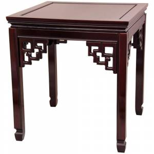 Oriental Furniture Square Ming Red End Table