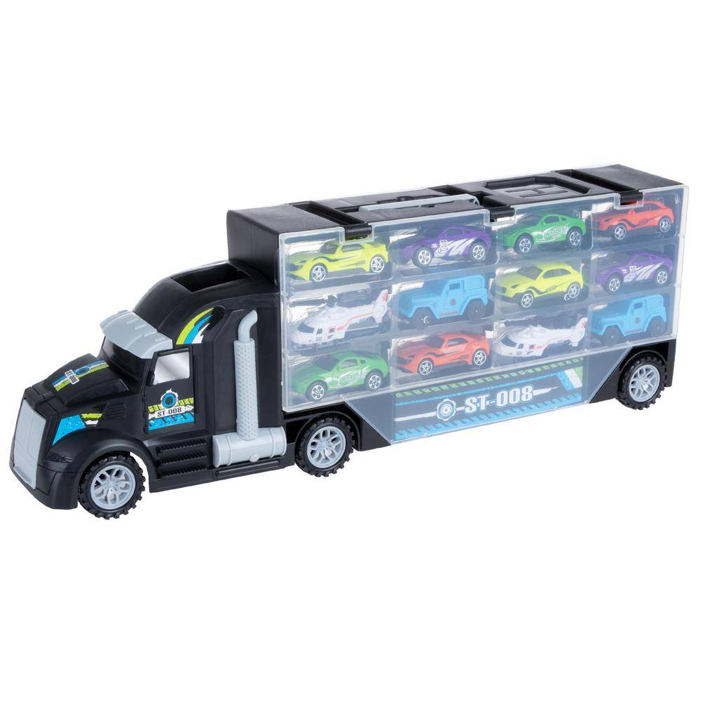 Bike Lane Semi-Truck Car Hauler Toy Set - 2-Sided Trailer with Helipad, Stores 24-Vehicles and Includes 10-Cars and 2-Helicopters