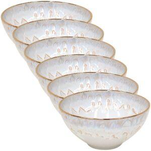 CASAFINA Taormina 22 fl. oz. White and Gold Stoneware Cereal Bowl (Set of 6), Gloss