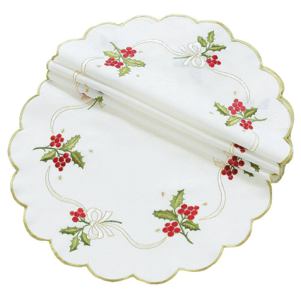 Xia Home Fashions 12 in. Round Holly Berry Embroidered Collection Doily (4-Set), White