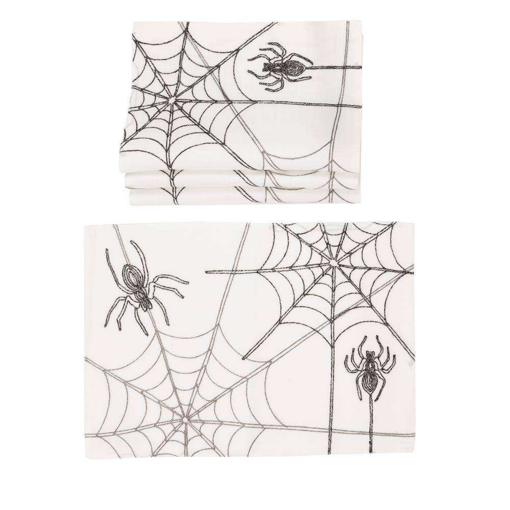 Xia Home Fashions 0.1 in. H x 14 in. W x 20 in. D Halloween Spider Web Double Layer Placemats in White (Set of 4)