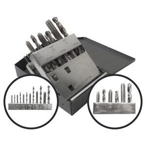 Gyros 118-Degree High Speed Steel HSS Split Point Drill Bits Metric Tap and Drill Bit Set (18-Piece)