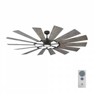 Monte Carlo Prairie 72 in. LED Indoor/Outdoor Aged Pewter Ceiling Fan with Light Grey Weathered Oak Blades, Light Kit and Remote