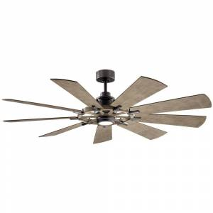 KICHLER Gentry 65 in. Integrated LED Indoor Anvil Iron Downrod Mount Ceiling Fan with Light Kit and Wall Control