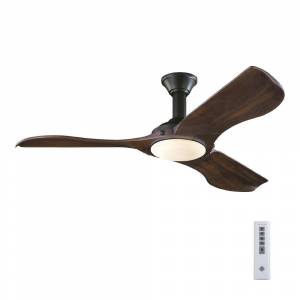 Monte Carlo Minimalist 56 in. LED Indoor/Outdoor Black Ceiling Fan with Dark Walnut Balsa Blades and Remote Control