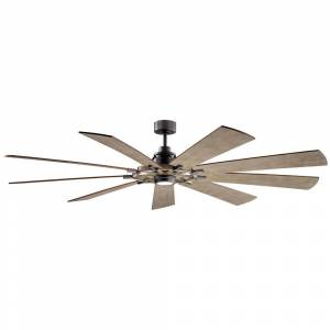 KICHLER Gentry 85 in. Integrated LED Indoor Anvil Iron Downrod Mount Ceiling Fan with Light Kit and Wall Control