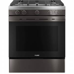 HAIER 5.6 cu. ft. Smart Slide-in Gas Range with Self-Cleaning Convection in Black Stainless Steel, Fingerprint Resistant