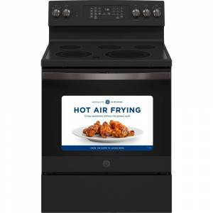 GE 30 in 5.3 cu. ft. Electric Range with Self-Cleaning Convection and Air Fry in Black Slate, Fingerprint Resistant Black Slate