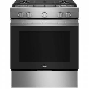 HAIER 5.6 cu. ft. Smart Slide-in Gas Range with Self-Cleaning Convection in Stainless Steel, Silver