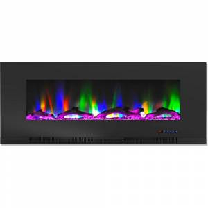 Cambridge 50 in. Wall-Mount Electric Fireplace in Black with Multi-Color Flames and Driftwood Log Display