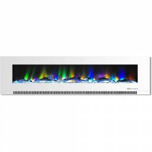 Cambridge 78 in. Wall-Mount Electric Fireplace in White with Multi-Color Flames and Driftwood Log Display