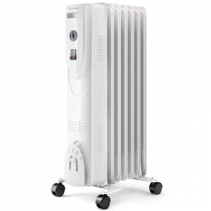 Costway 1500-Watt LCD 7-Fin Timer Electric Oil Filled Radiator Heater with Remote Control, White