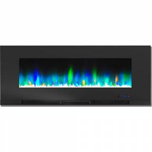 Cambridge 50 in. Wall-Mount Electric Fireplace in Black with Multi-Color Flames and Crystal Rock Display
