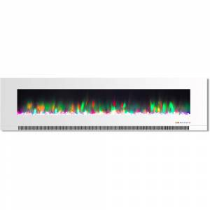 Cambridge 78 in. Wall-Mount Electric Fireplace in White with Multi-Color Flames and Crystal Rock Display