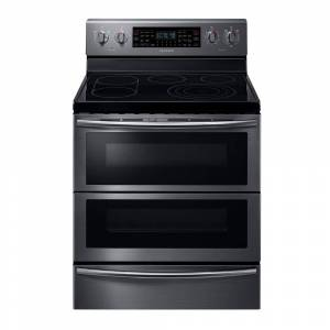 Samsung 30 in. 5.9 cu. ft. Flex Duo Double Oven Electric Range with Self-Cleaning in Fingerprint Resistant Black Stainless, Fingerprint Resistant Black Stainless Steel
